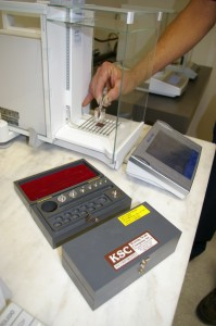 Testing of Analytical Balance with ASTM Class 1 Test Weights.